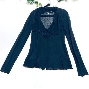 Anthropologie knitted knotted black cardigan linen